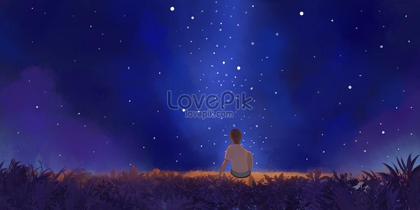 銀河草原星空插畫圖片素材-PSD圖片尺寸4000 × 2000px-高清圖片400066194-zh.lovepik.com
