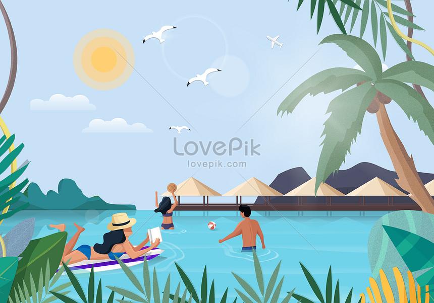 夏季海邊旅遊插畫圖片素材-AI圖片尺寸4280 × 3000px-高清圖片400451719-zh.lovepik.com