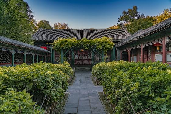 Beijing Gongwang House Peony Garden Red Lantern Gambar Unduh