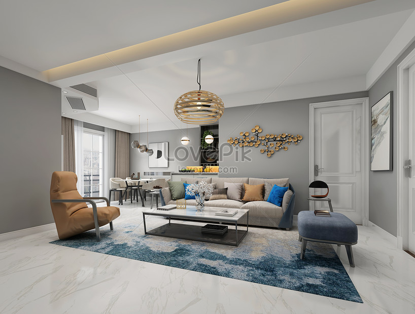 現代北歐風客廳室內設計效果圖圖片素材-JPG圖片尺寸2830 × 2145px-高清圖片501210650-zh.lovepik.com