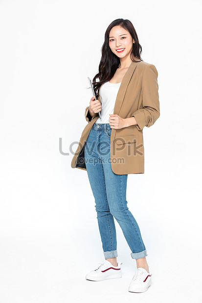 Young Business Woman In Casual Outfit Holding Tablet Photo Image Picture Free Download 501540015 Lovepik Com