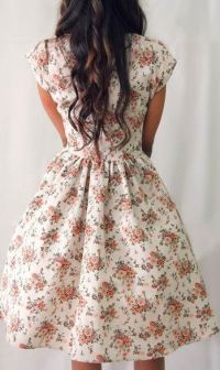 : Summer Fashion, Summer Dress, Vintage Floral Print, Cap ...