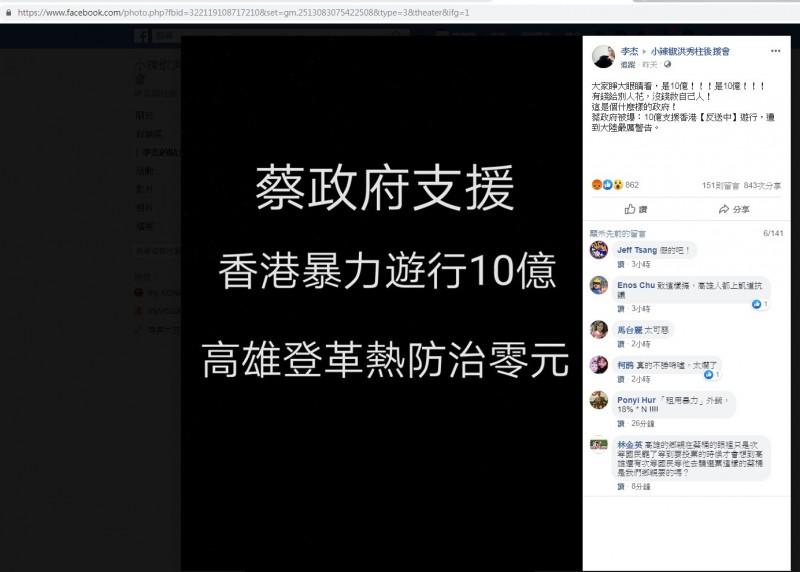 造謠蔡政府捐香港反送中10億 刑事局:去年黑其邁同一人 - 社會 - 自由時報電子報