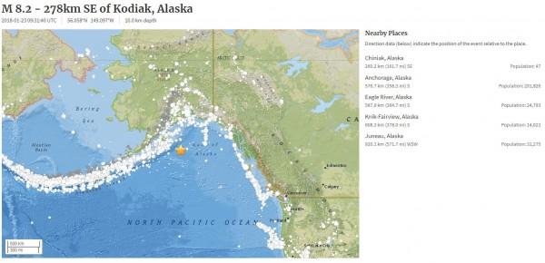 阿拉斯加外海7.9強震 當局發布海嘯警報 - 國際 - 自由時報電子報