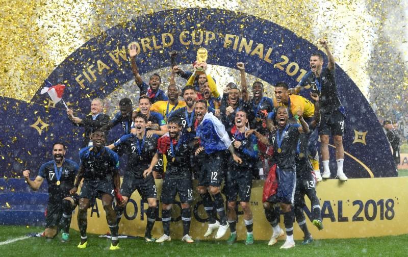 法國奪下隊史第二座世界盃冠軍。(歐新社)