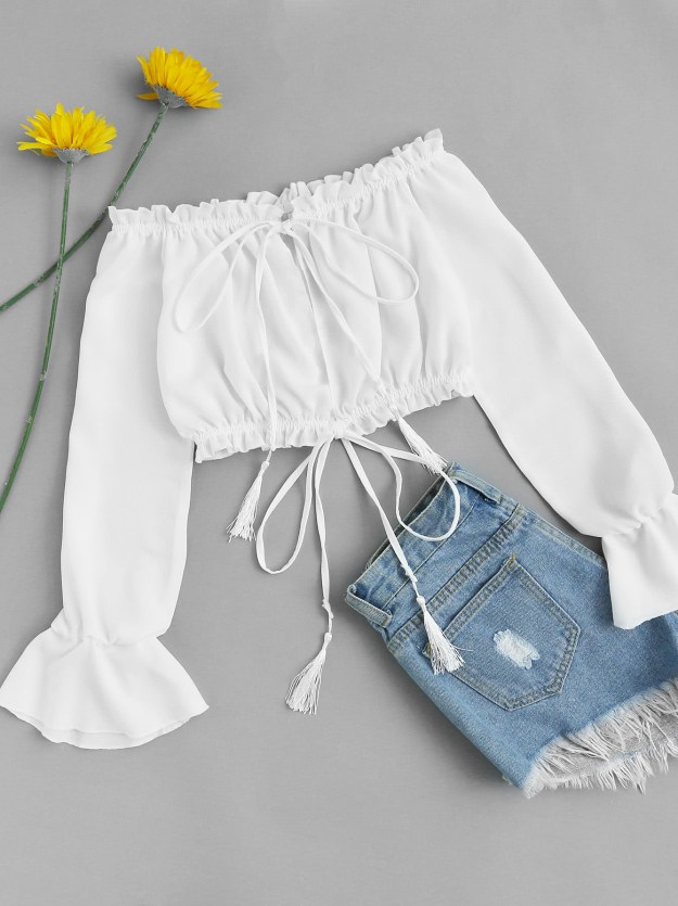 crop top volantes blanca camiseta romwe low cost