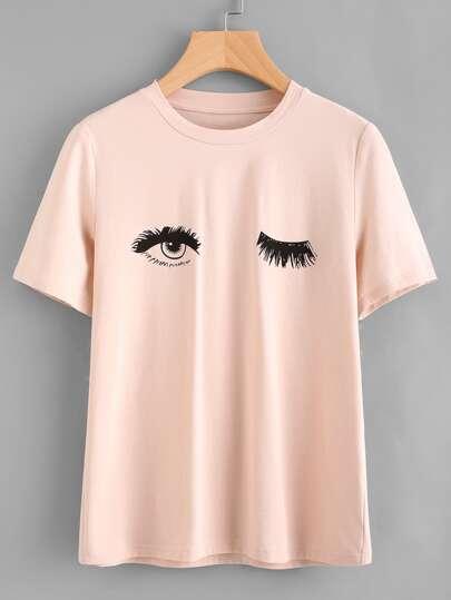 Wink Eyes Print Tee