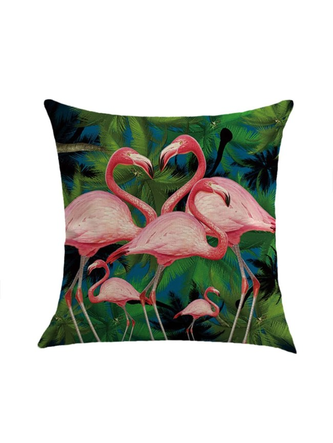 SheIn Flamingo & Tree Print Pillowcase Cover