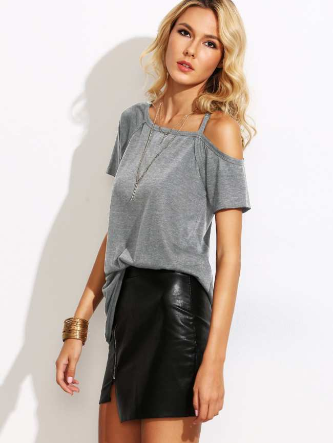 SheIn Asymmetric Cold Shoulder Heathered T-shirt