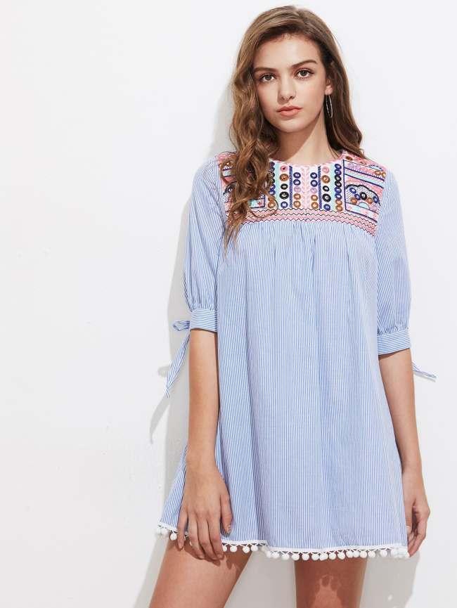 SheIn Embroidered Yoke Tie Sleeve Pom Pom Trim Dress