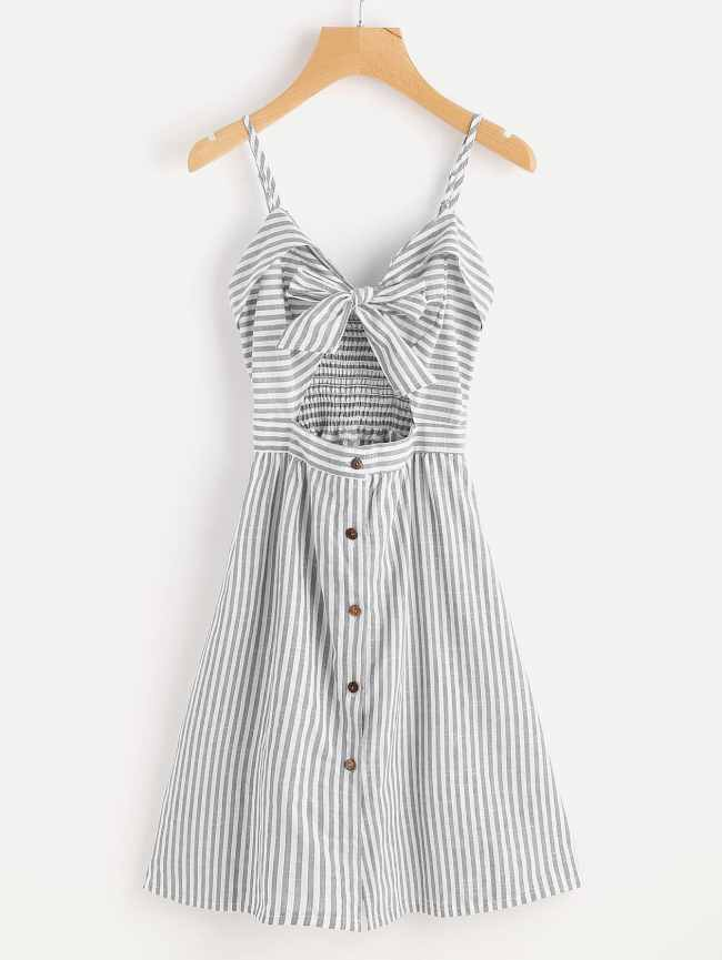 SheIn Stripe Cut Out Bow Front Foldover Cami Dress