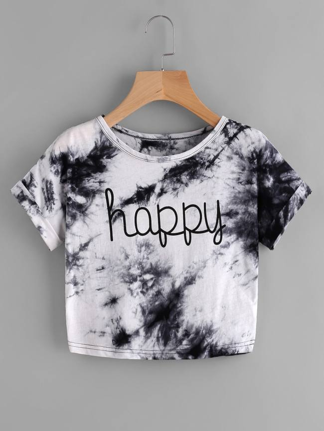 SheIn Water Color Letter Print Tee