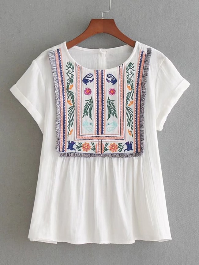SheIn Rolled Cuff Fringe Trim Embroidery Top