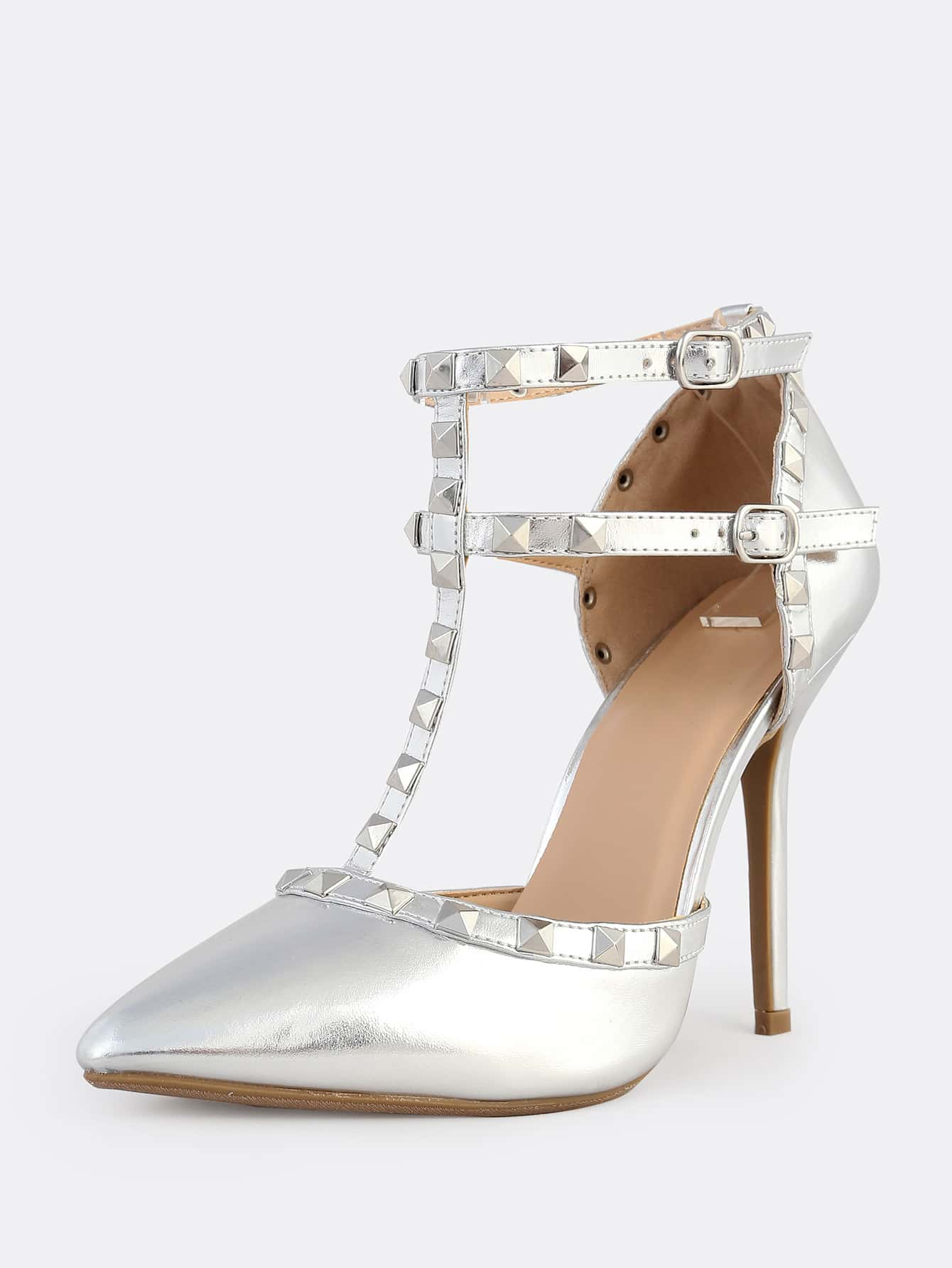 high heel shoe chair value city round glass and wood dining table chairs metallic stud closed toe pumps silver shein sheinside