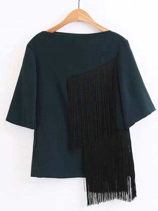 SheIn Elbow Sleeve Top With Tassel