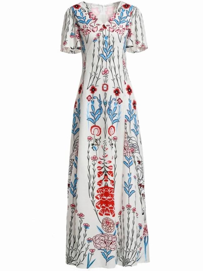 SheIn V Neck Flowers Print Maxi Dress