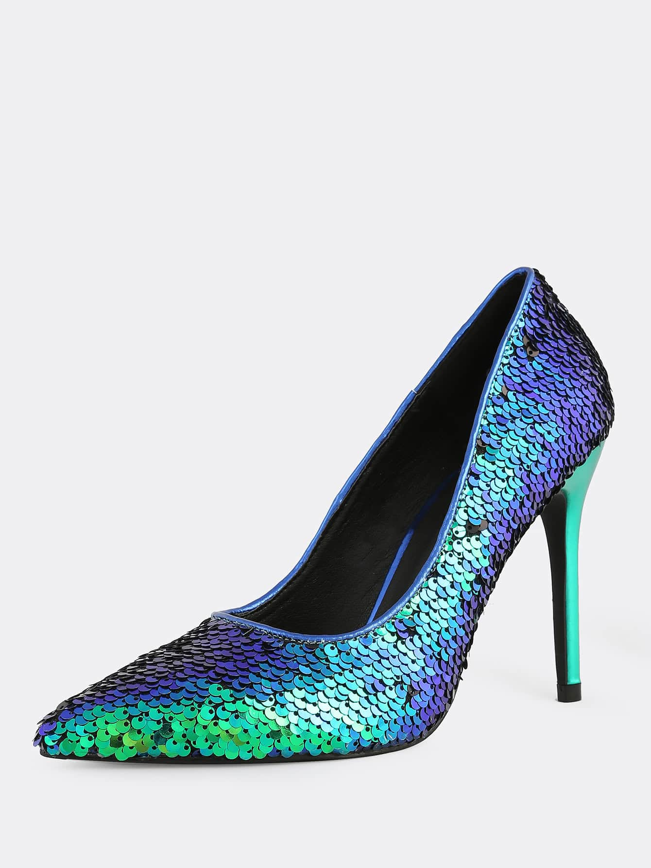 high heel shoe chair value city wheelchair names pointy toe sequin stiletto mermaid shein sheinside