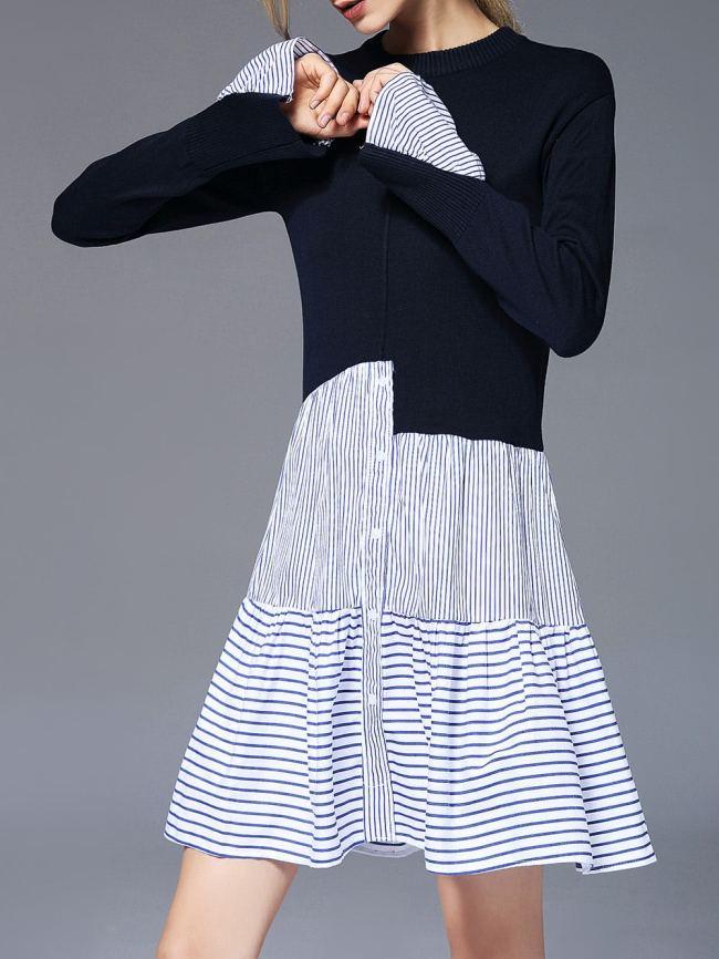 SheIn Color Block Striped Dress