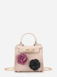 Applique Flower Mini PU Shoulder Bag