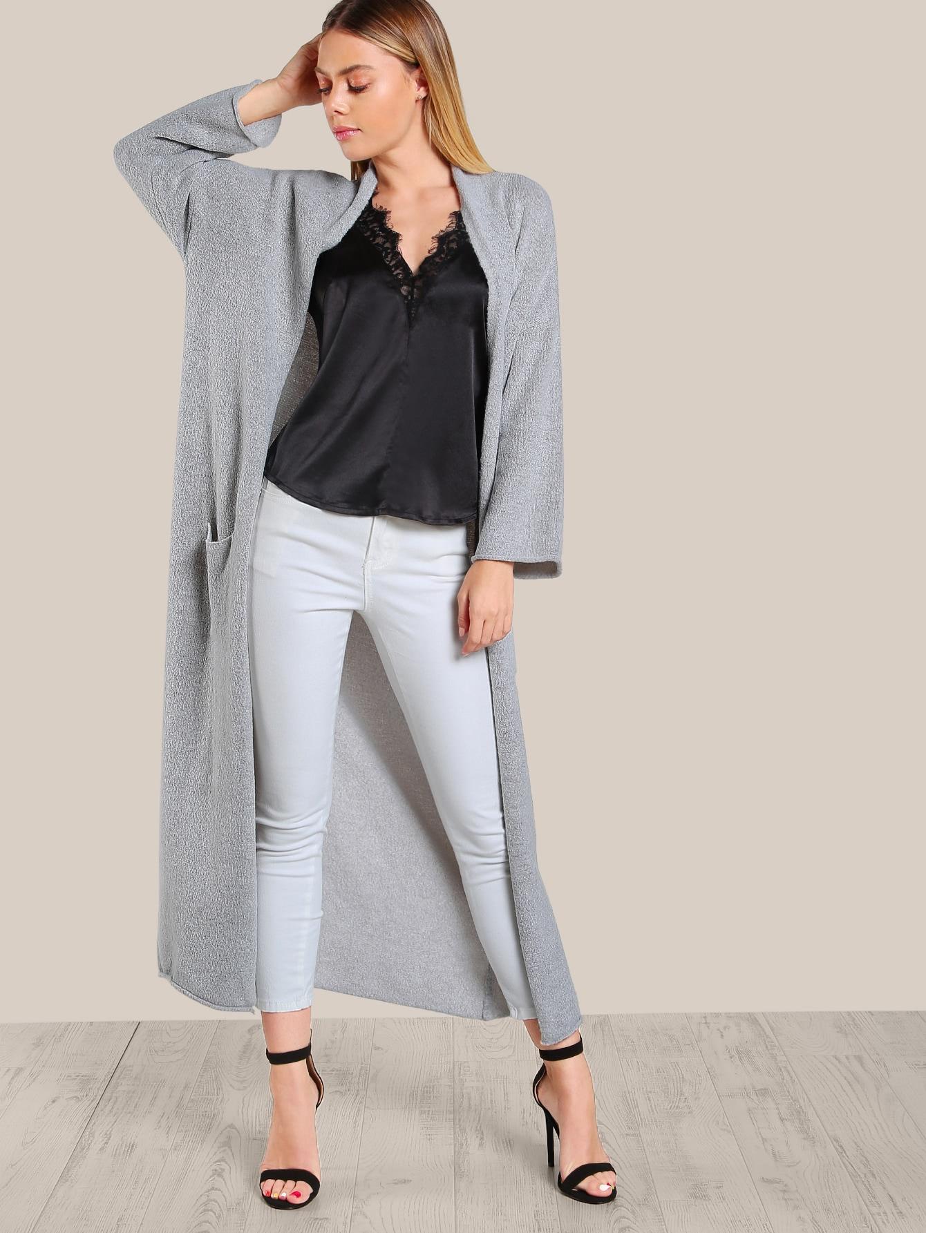Long Sleeve Open Floor Length Cardigan GREY  MakeMeChicCOM