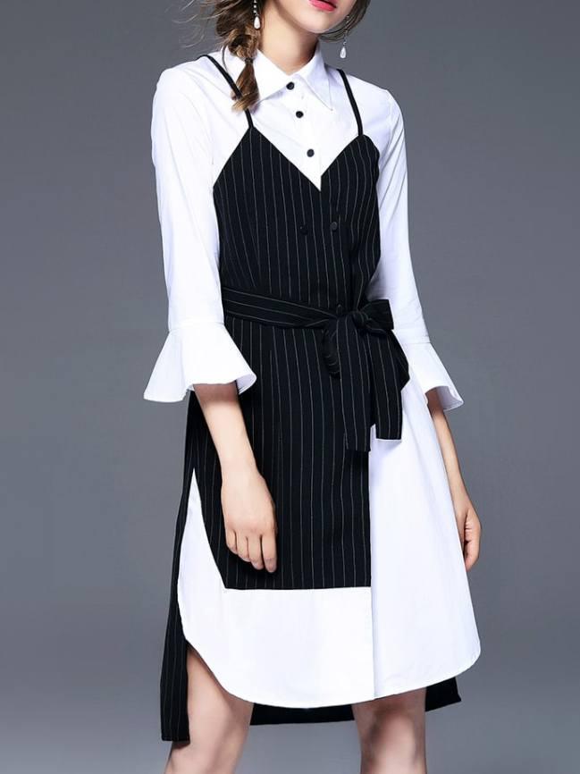 SheIn Bell Sleeve Color Block Shirt Dress