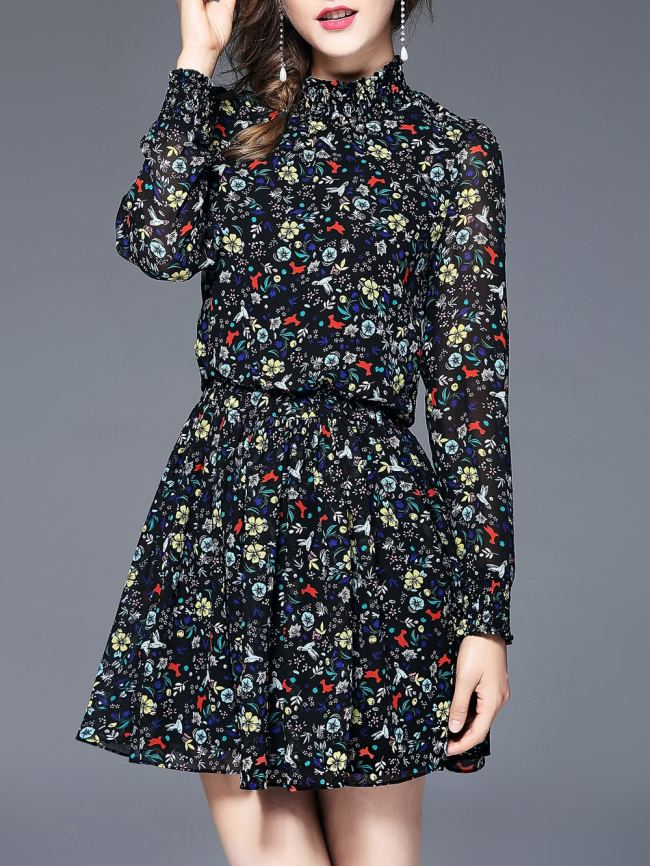 SheIn Floral Elastic-Waist Dress