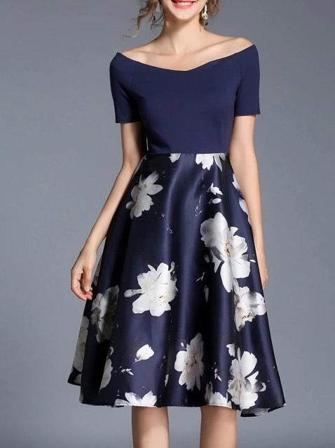 SheIn Boat Neck Flowers Print Combo Dress
