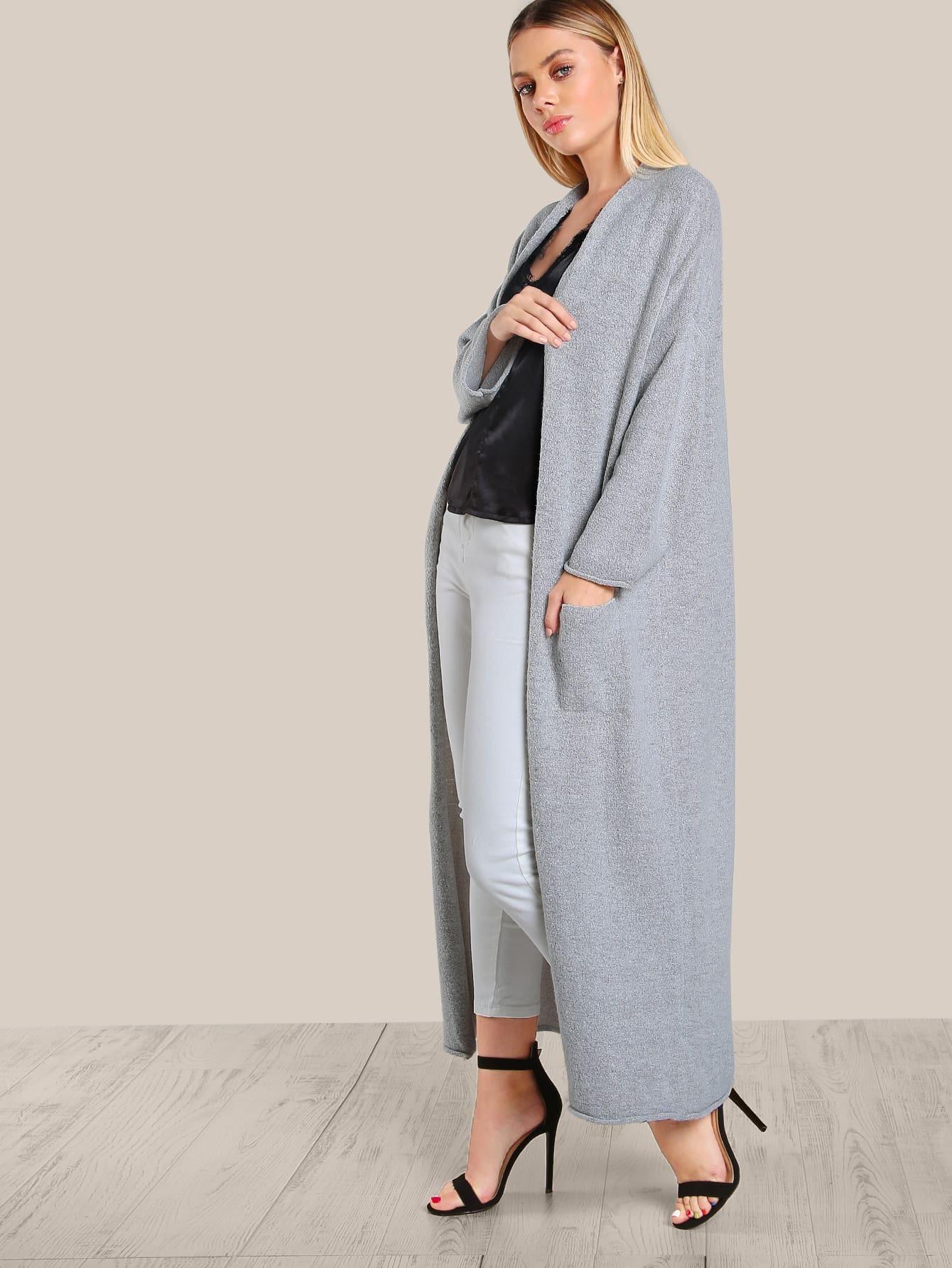 Long Sleeve Open Floor Length Cardigan GREY  SHEIN