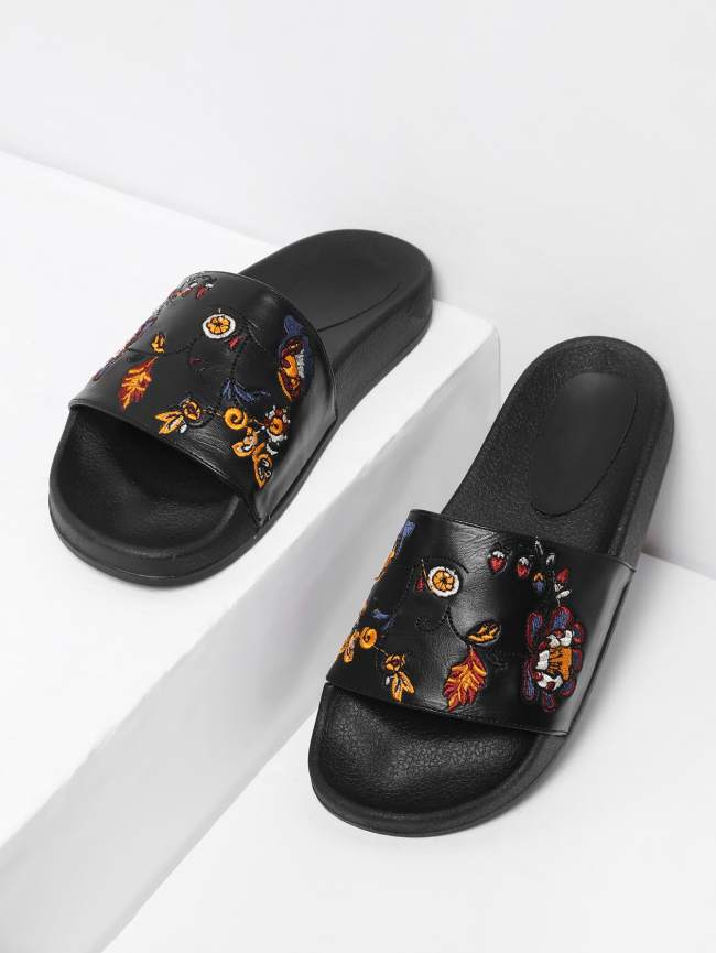 SheIn Flower Embroidery PU Slip On Sandals