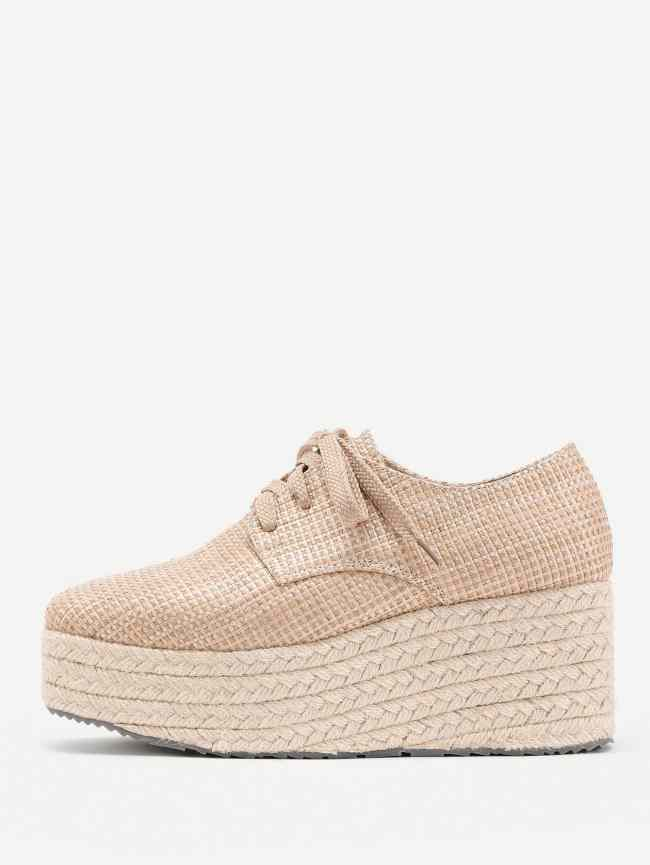SheIn Square Toe Lace Up Straw Woven Wedges