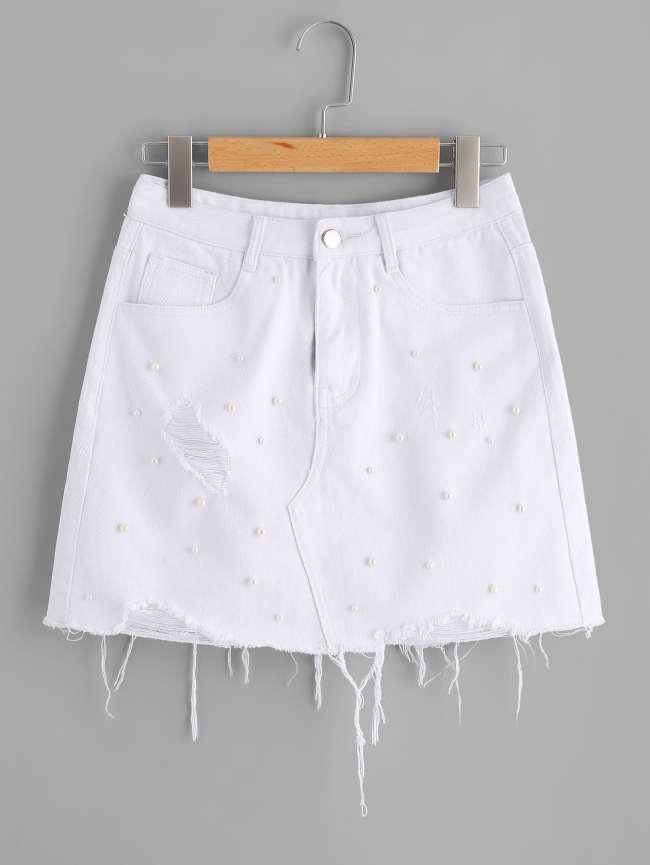 SheIn Raw Hem Pearl Beading Shredded Denim Skirt