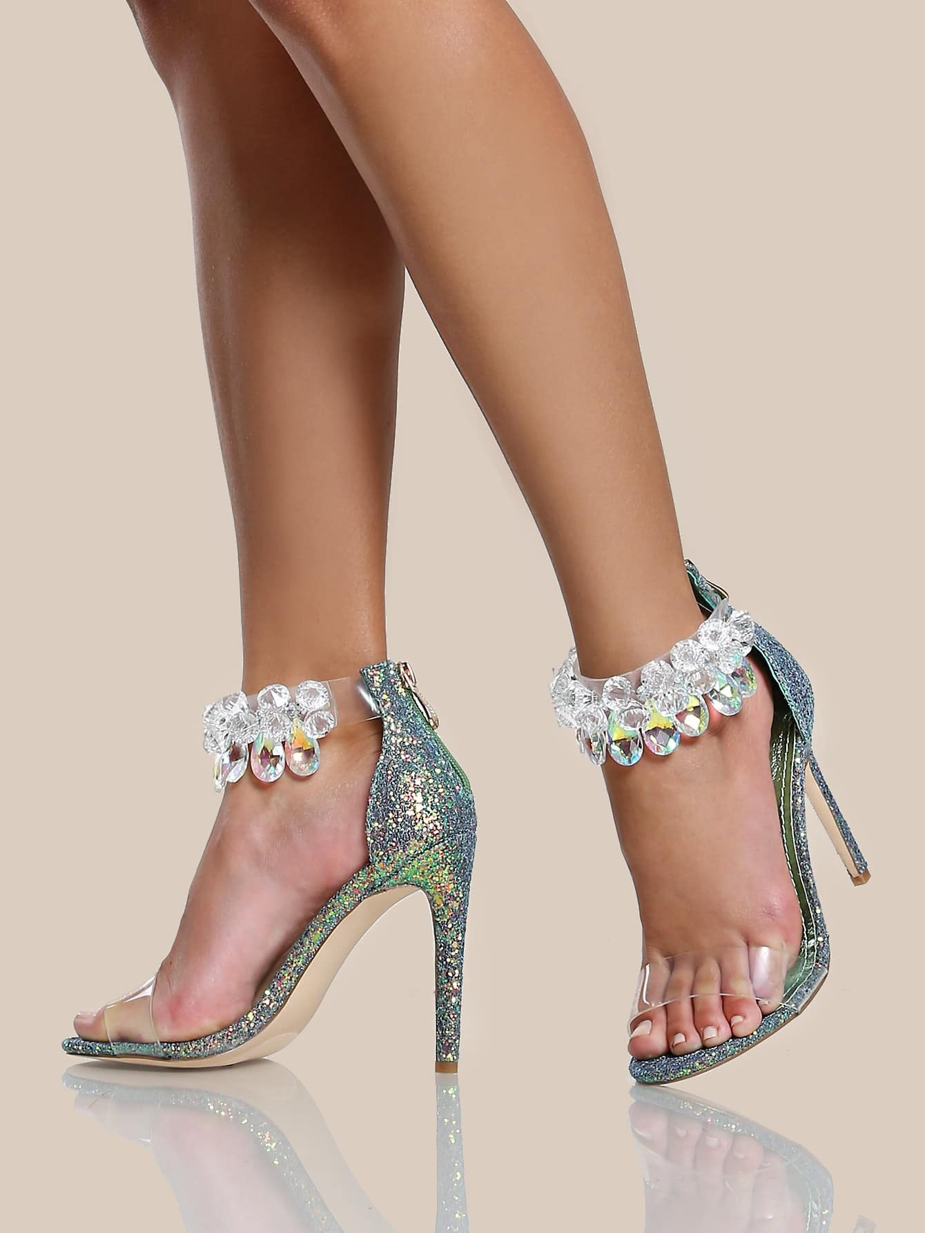 high heel shoe chair value city cover rentals albuquerque clear diamond studded strap glitter mermaid shein