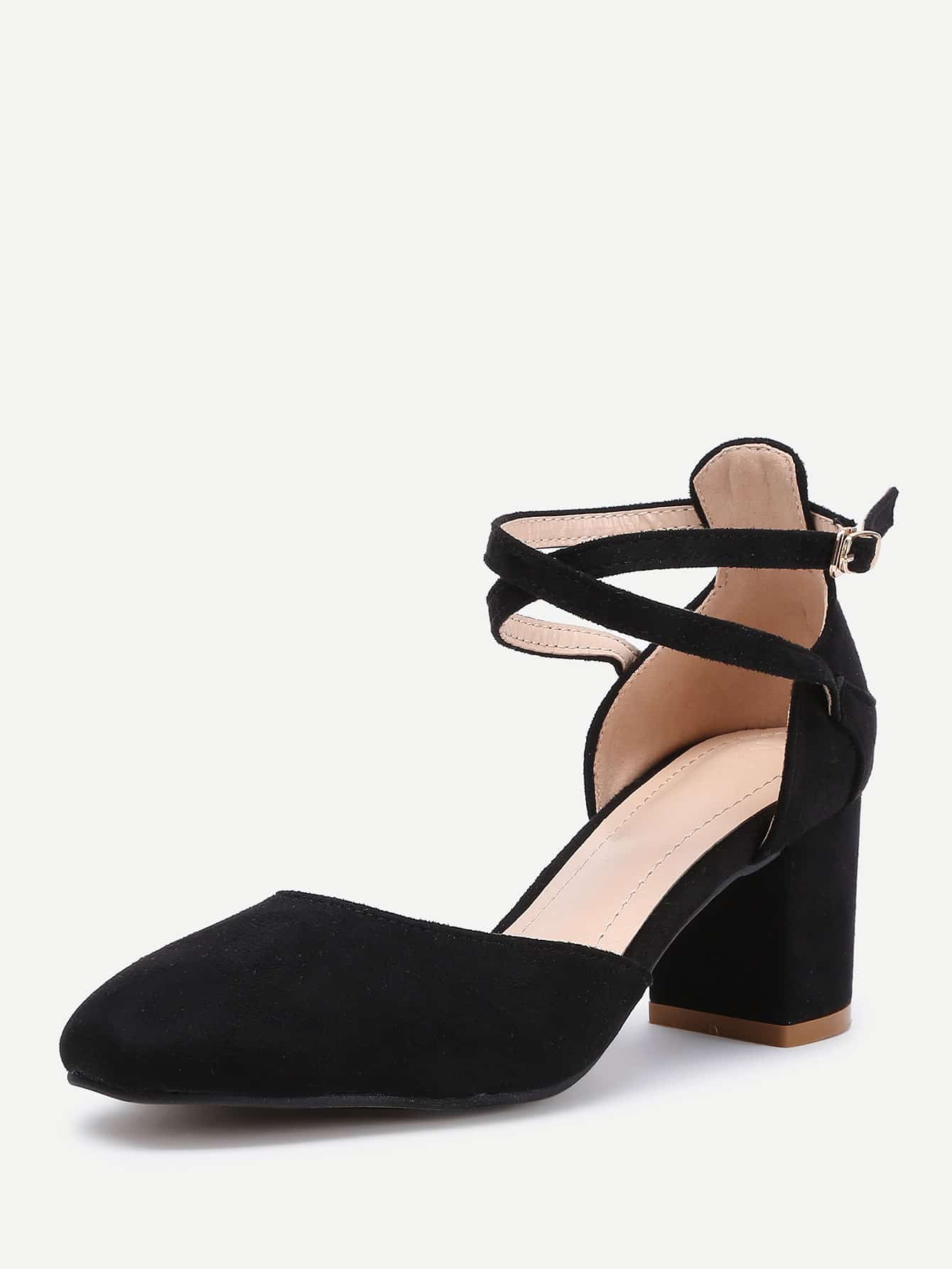 high heel shoe chair value city chicco polly pointed toe ankle strap block heels shein sheinside