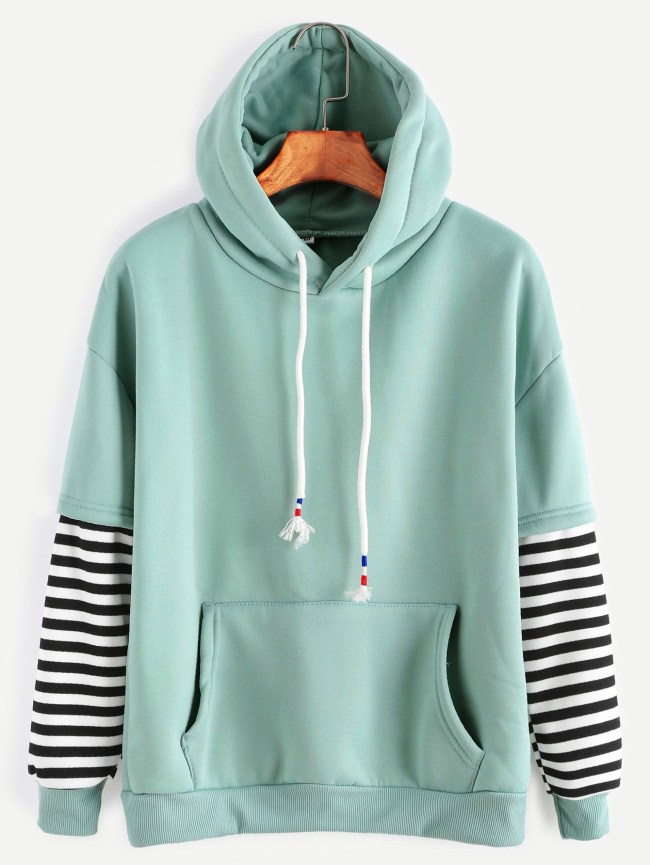 SheIn Sleeve Striped Drawstring Hooded Sweatshirt With Pocket
