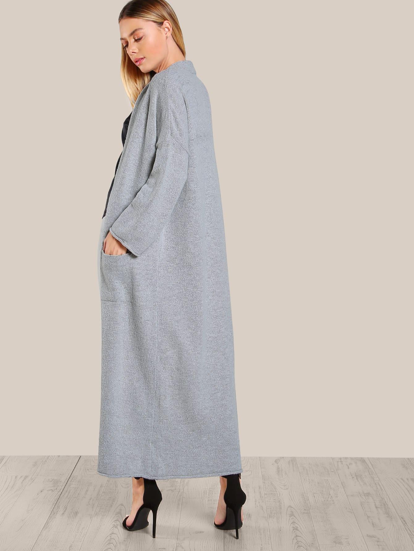 Long Sleeve Open Floor Length Cardigan GREY SheInSheinside
