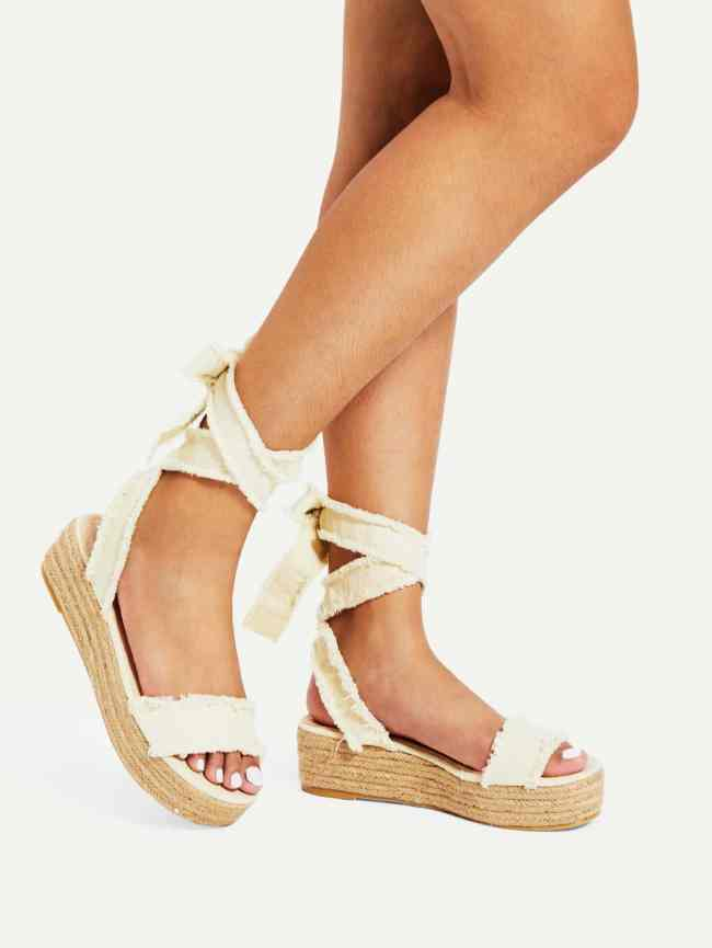 SheIn Tie Leg Flatform Denim Sandals