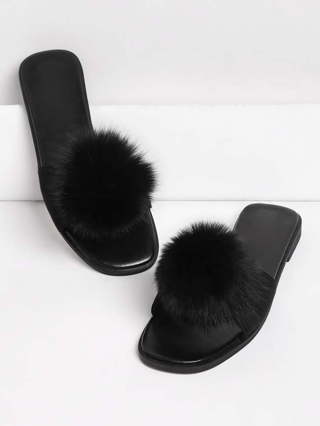 SheIn Pom Pom Decorated Flat Slippers
