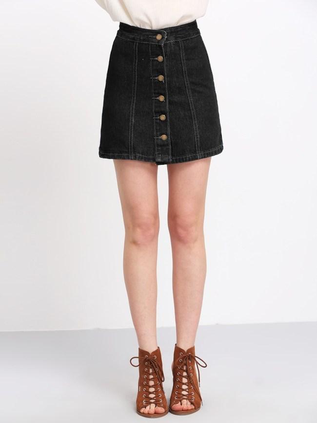 SheIn Buttons Through Up Topstitch Denim Skirt