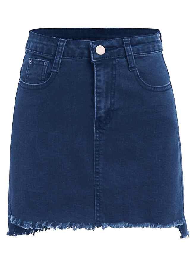 SheIn Frayed Hem Bodycon Denim Skirt