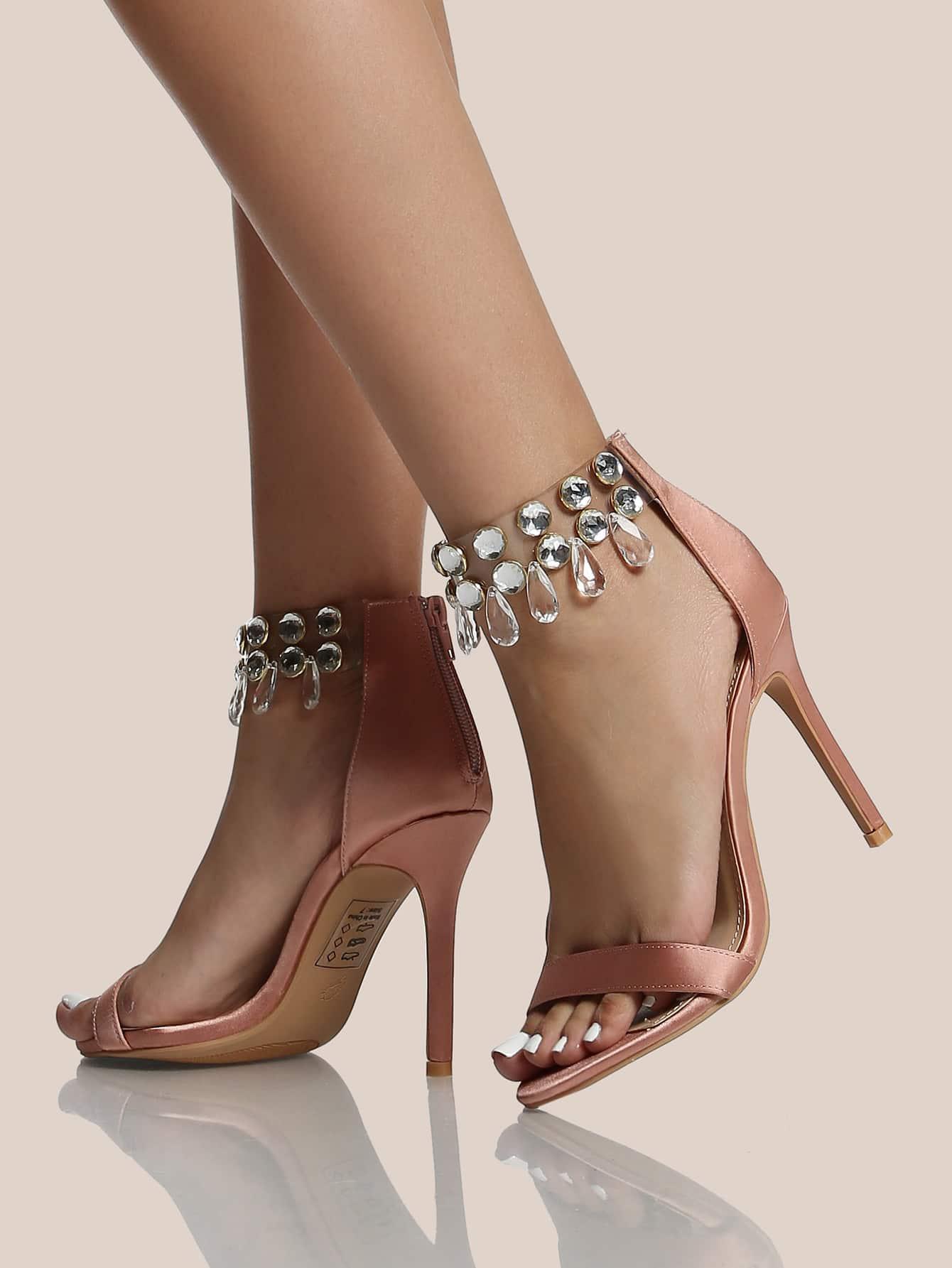 high heel shoe chair value city walgreens ultra lightweight transport burgundy diamond clear ankle strap heels mauve shein sheinside