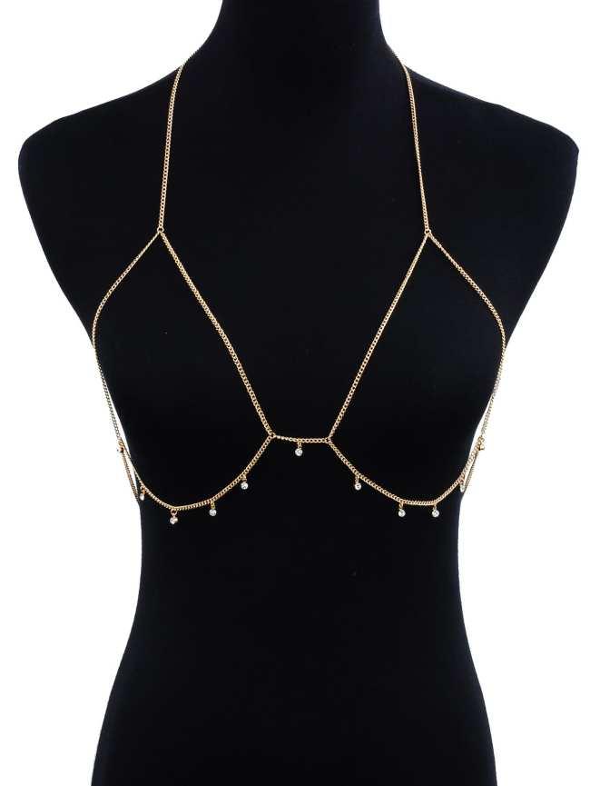 SheIn Rhinestone Detail Bralet Body Chain