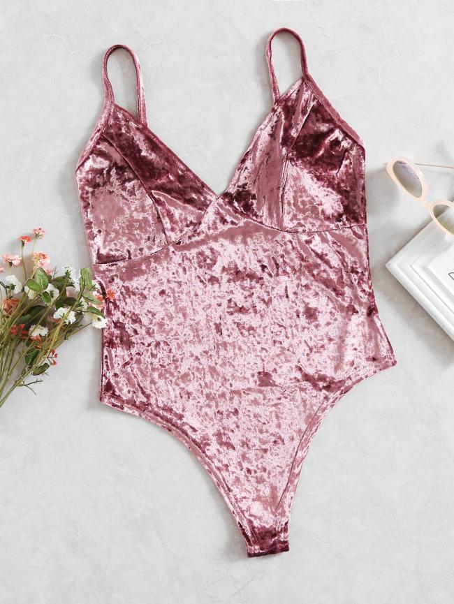 SheIn Velvet V Neckline Cami Bodysuit