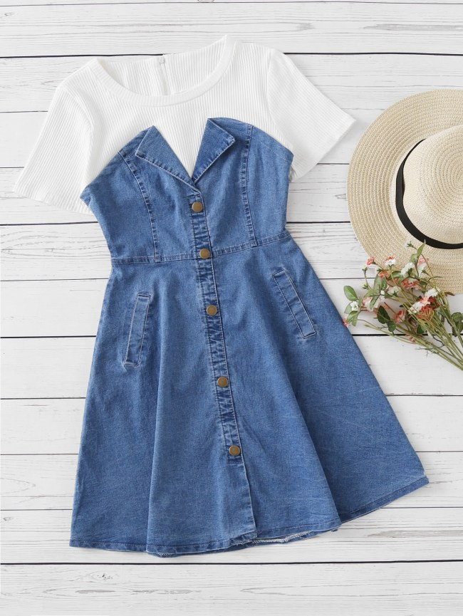SheIn Denim Contrast Ribbed 2 in 1 Dress