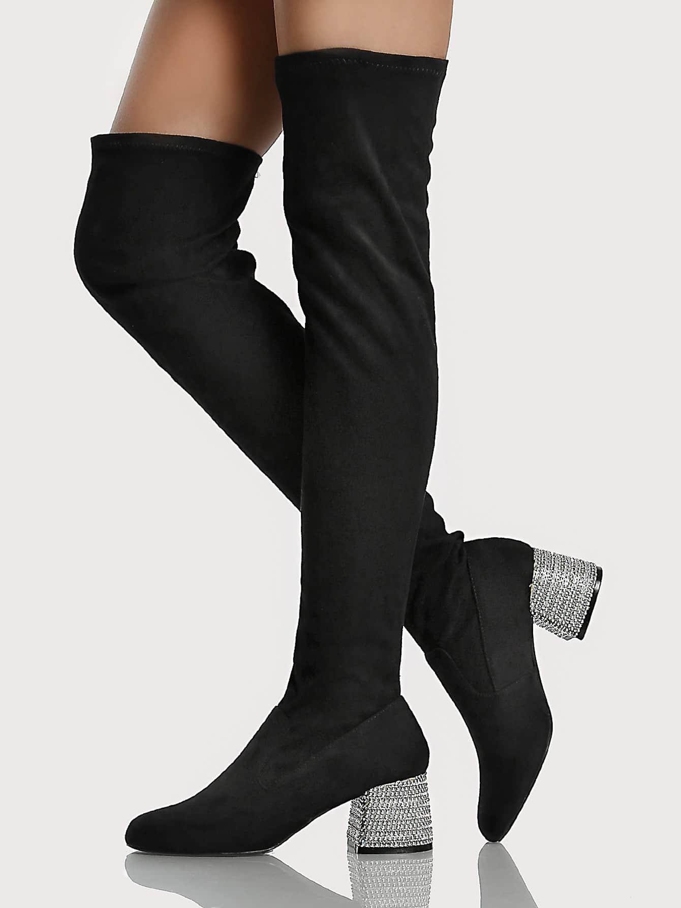 high heel shoe chair value city posture executive diamond studded boots black shein sheinside