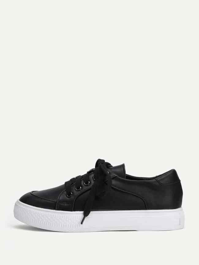 SheIn Lace Up Round Toe Flatform Sneakers