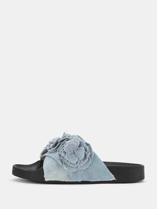 SheIn Flower Decorated Denim Slip On Sandals