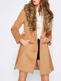 Faux Fur Shawl Collar Self Belted Coat -SheIn(Sheinside)
