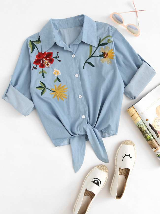 SheIn Embroidered Roll Up Sleeve Self Tie Denim Shirt