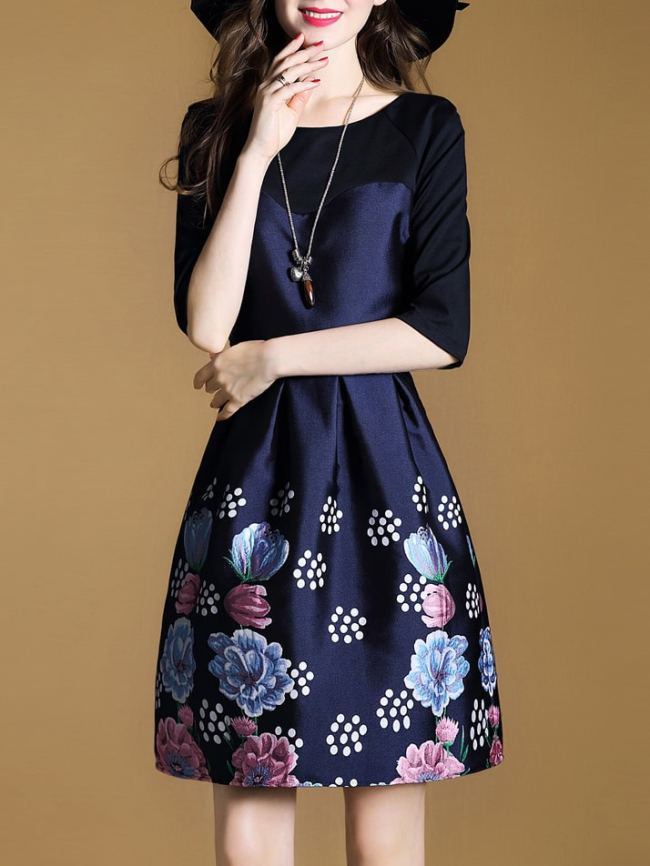 SheIn Flowers Print A-Line Dress
