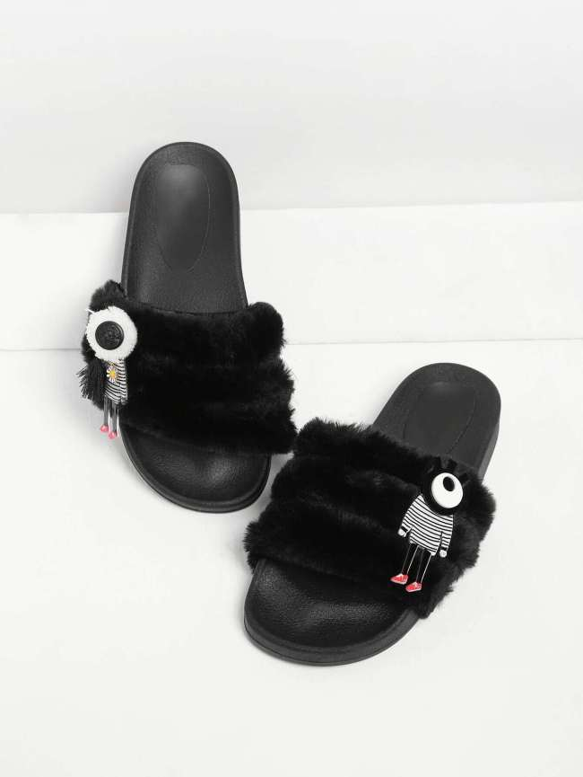 SheIn Faux Fur Cartoon Patch Sliders